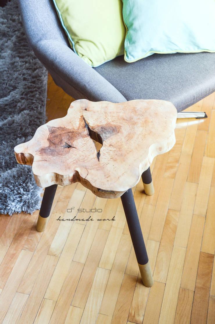 Coffee Table MICKY GOLD / Stolik kawowy MICKY GOLD: styl , w kategorii  zaprojektowany przez D2 Studio,Minimalistyczny Drewno O efekcie drewna