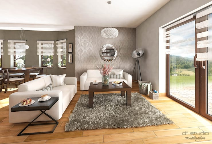 Salon klasyczny z kuchnią / CLASSIC LIVING ROOM with KITCHEN: styl , w kategorii Salon zaprojektowany przez D2 Studio
