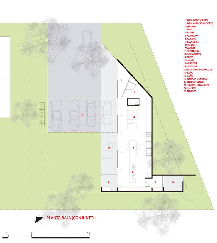 PLANTA BAJA:  de estilo  por CCMP Arquitectura