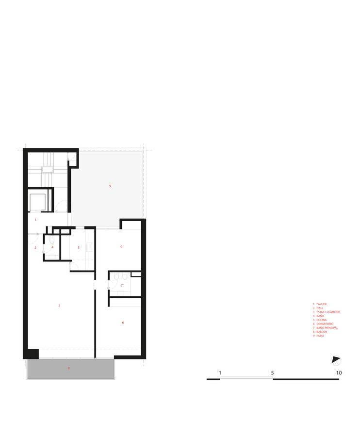 PLANTA DEPARTAMENTO TIPO: Terrazas de estilo  por CCMP Arquitectura