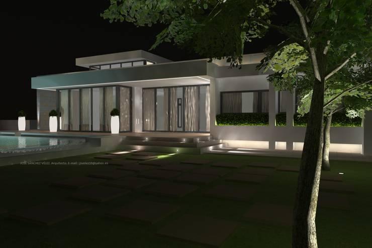 Projekty, śródziemnomorskie Domy zaprojektowane przez Estudio de Arquitectura e Interiorismo  José Sánchez Vélez. 653773806