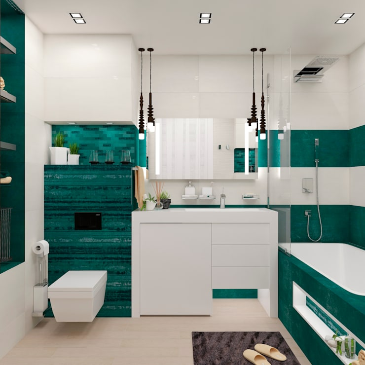 """Ванная комната """"Green & white"""": Ванные комнаты в . Автор – Студия дизайна Дарьи Одарюк"""