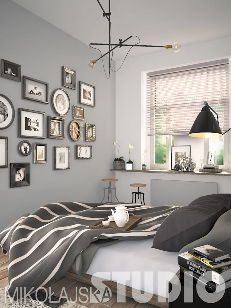 """bedroom design: styl {:asian=>""""azjatyckie"""", :classic=>""""klasyczny"""", :colonial=>""""kolonialny"""", :country=>""""wiejskie"""", :eclectic=>""""eklektyczny"""", :industrial=>""""przemysłowy"""", :mediterranean=>""""śródziemnomorski"""", :minimalist=>""""minimalistyczny"""", :modern=>""""nowoczesny"""", :rustic=>""""rustykalny"""", :scandinavian=>""""skandynawski"""", :tropical=>""""tropikalny""""}, w kategorii  zaprojektowany przez MIKOŁAJSKAstudio ,"""