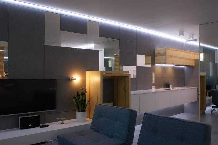 Grey-t: styl , w kategorii Salon zaprojektowany przez t design,Nowoczesny Płyta MDF