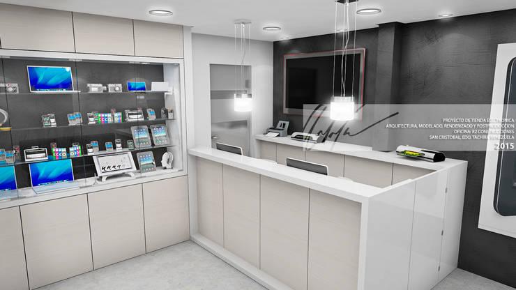 AREA DE ATENCION AL CLIENTE: Oficinas y Tiendas de estilo  por Arq.AngelMedina+