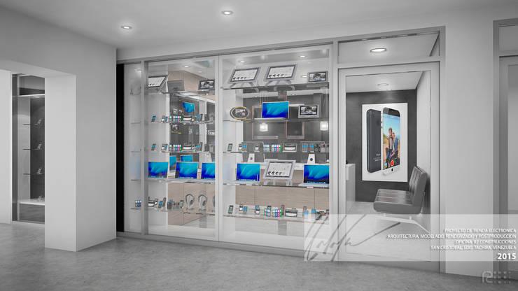 FACHADA PRINCIPAL: Oficinas y Tiendas de estilo  por Arq.AngelMedina+
