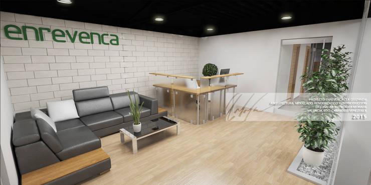 RECEPCION DE OFICINA: Oficinas y Tiendas de estilo  por Arq.AngelMedina+