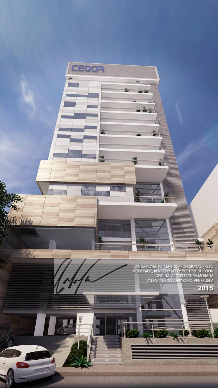FACHADA PRINCIPAL: Terrazas de estilo  por Arq.AngelMedina+