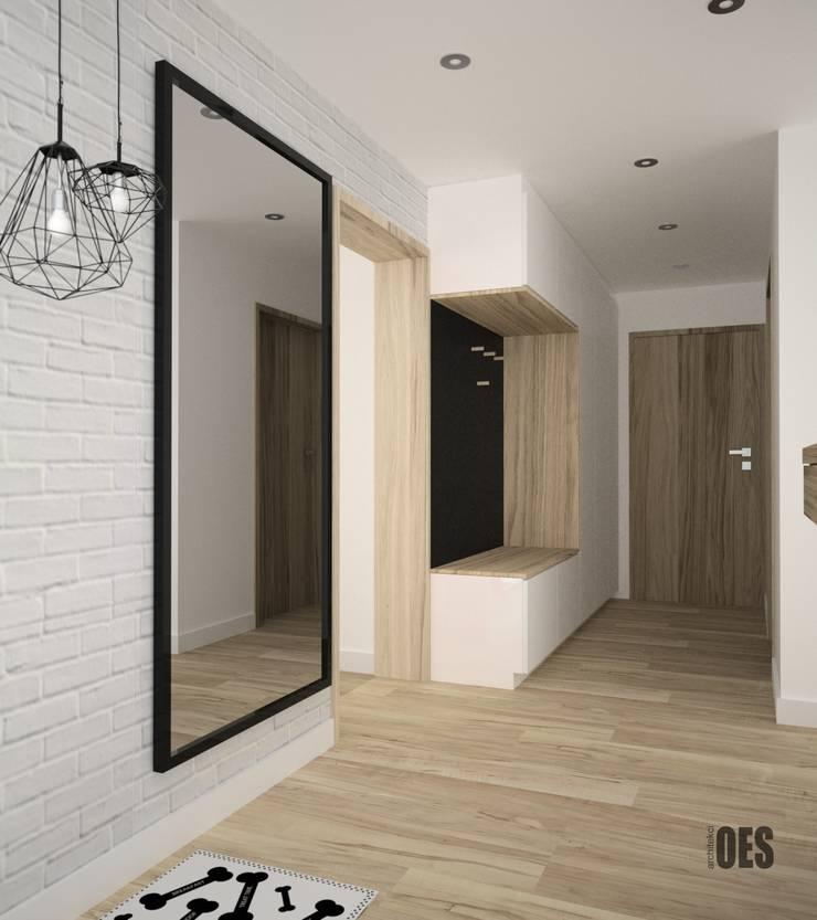 Projekt salonu i przedpokoju: styl , w kategorii Korytarz, przedpokój zaprojektowany przez OES architekci,Nowoczesny Drewno O efekcie drewna