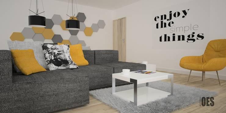 Projekt salonu i przedpokoju: styl , w kategorii Salon zaprojektowany przez OES architekci,Nowoczesny Matal