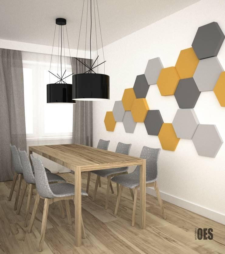 Projekt salonu i przedpokoju: styl , w kategorii Salon zaprojektowany przez OES architekci,Nowoczesny Drewno O efekcie drewna