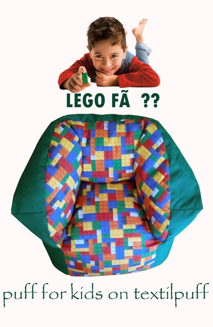 """Puff médio """"lego"""": Quarto de crianças  por Textilpuff"""
