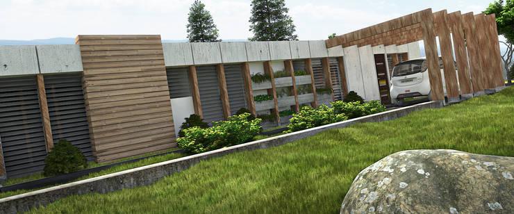 AREA DE AMPLIACION Y PLANTACION : Casas de estilo  por Arq.AngelMedina+