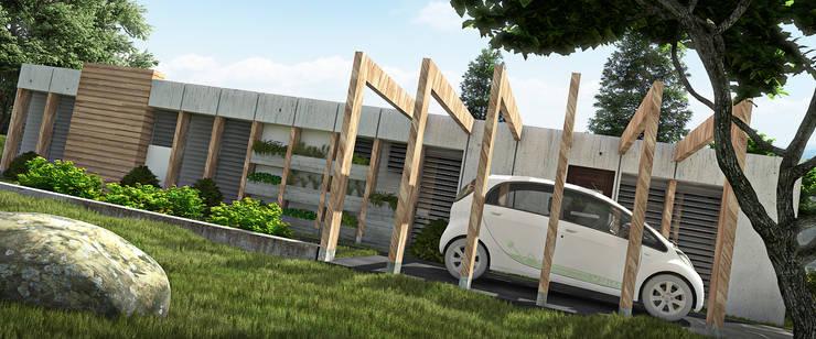 GARAGE Y ENTRADA PRINCIPAL/AREA DE AMPLIACION Y PLANTACION : Casas de estilo  por Arq.AngelMedina+