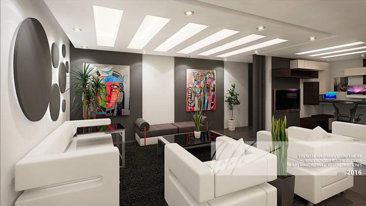 Sala principal y sala de  TV: Salas / recibidores de estilo minimalista por Arq.AngelMedina+