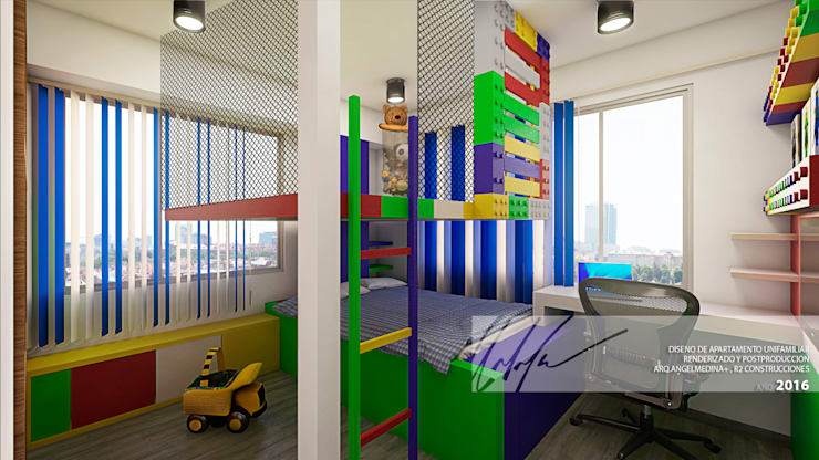 Habitacion de ninos B: Cuartos infantiles de estilo minimalista por Arq.AngelMedina+