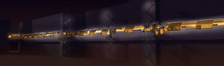 Couloir, entrée, escaliers industriels par TECHNO ARCHITECTURE .INC Industriel Métal