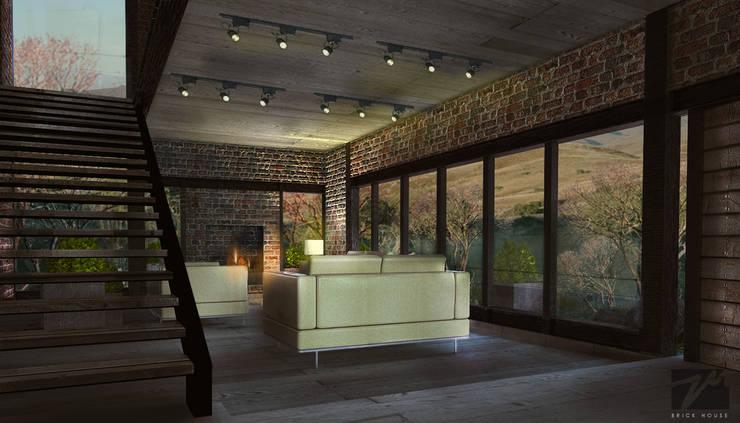 Brick House : Salas de estilo  por ZUM ARQUITECTURA