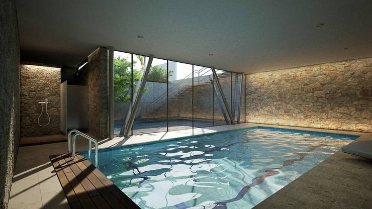 ALBERCA TECHADA : Albercas de estilo  por ORTHER Architects
