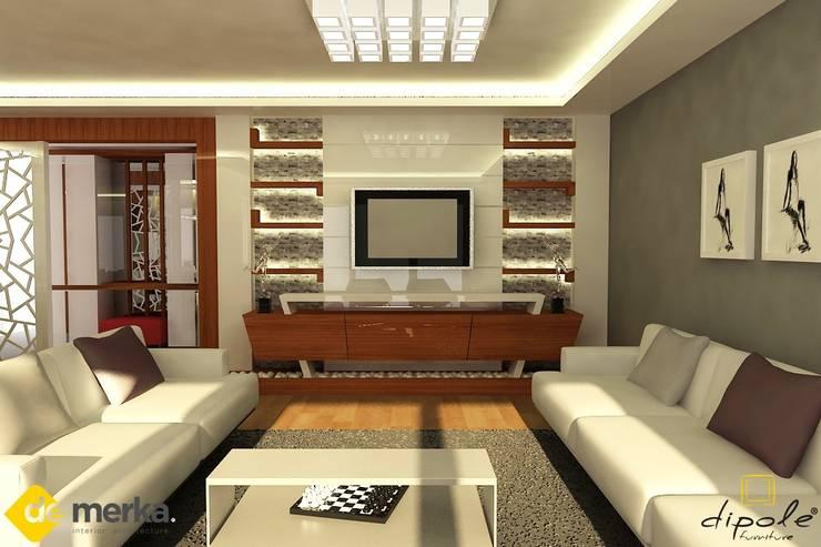 DE MERKA MİMARLIK  – ARDA YAVARİ- DÜDENPARK EVLERİ: modern tarz Oturma Odası