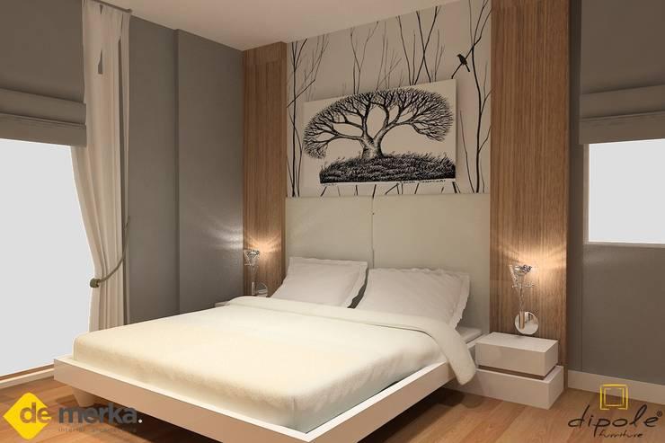 DE MERKA MİMARLIK  – ARDA YAVARİ- DÜDENPARK EVLERİ: modern tarz Yatak Odası