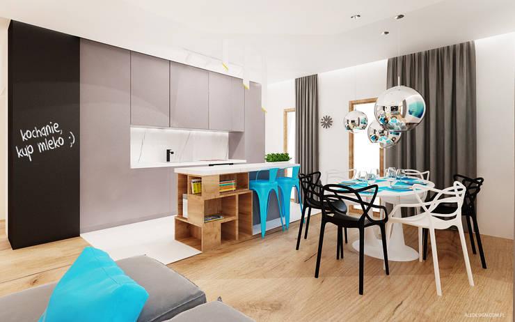 Salon: styl , w kategorii Kuchnia zaprojektowany przez Ale design Grzegorz Grzywacz,Minimalistyczny