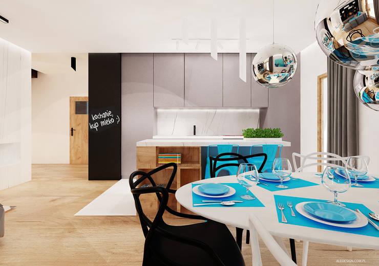 Salon z kuchnią : styl , w kategorii Kuchnia zaprojektowany przez Ale design Grzegorz Grzywacz,Minimalistyczny