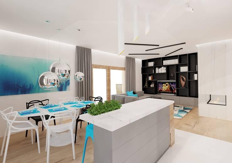 Salon z kuchnią: styl , w kategorii Kuchnia zaprojektowany przez Ale design Grzegorz Grzywacz,Minimalistyczny