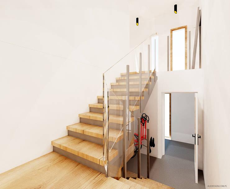 Klatka schodowa: styl , w kategorii Korytarz, przedpokój zaprojektowany przez Ale design Grzegorz Grzywacz,Minimalistyczny