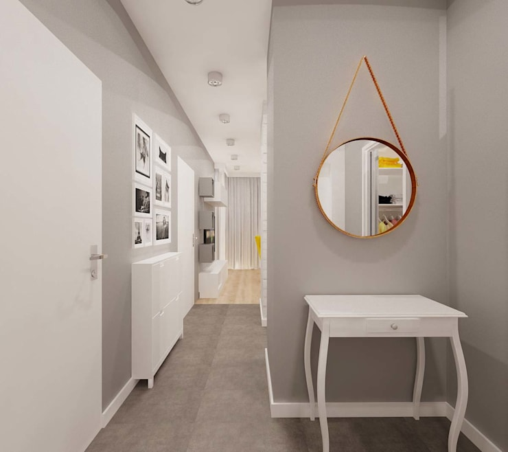 Przedpokój w szarości : styl , w kategorii Korytarz, przedpokój zaprojektowany przez Ale design Grzegorz Grzywacz