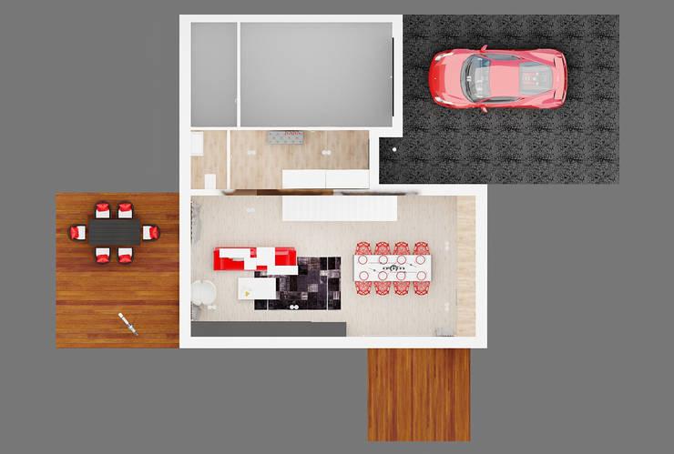 Rzut parteru: styl , w kategorii Kuchnia zaprojektowany przez Ale design Grzegorz Grzywacz