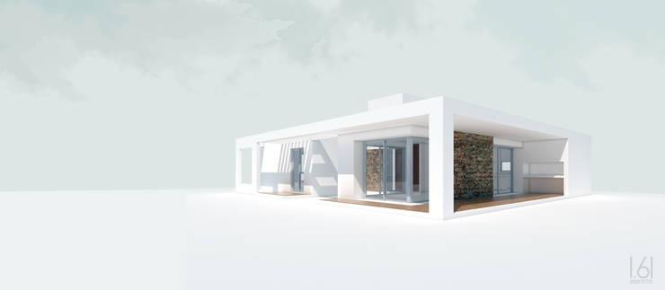 Vista norte / oeste: Casas unifamiliares de estilo  por 1.61 Arquitectos
