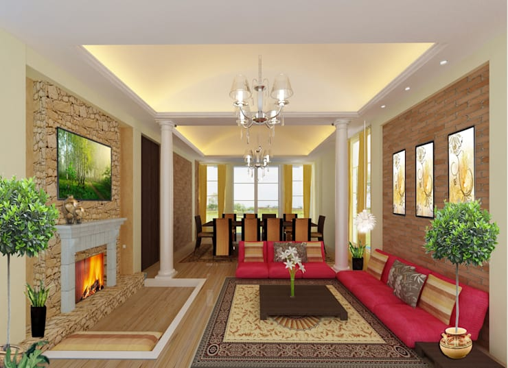 Recreation spaces - living room:  Living room by Preetham  Interior Designer