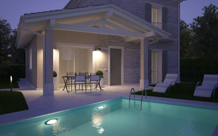Rendering 3d villa bifamiliare di 2p costruzioni srl for Case moderne classiche