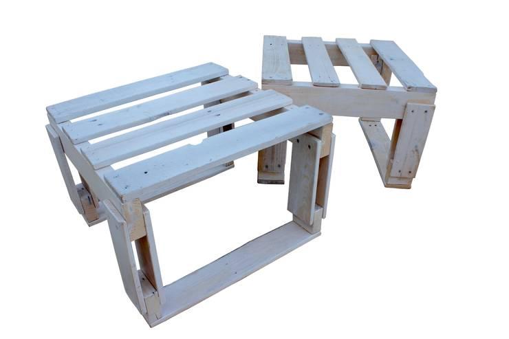 2 PALLET SET - benches: Jardim  por studiomuda