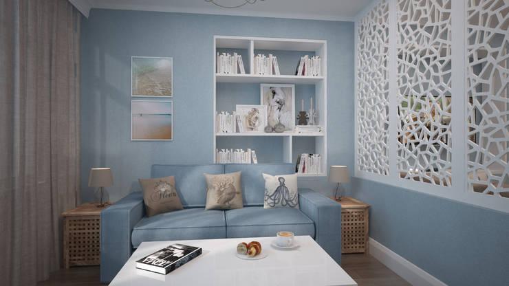 Строгий скандинавский стиль в двух комнатной квартиры в ЖК «Триколор»: Гостиная в . Автор – дизайн-бюро ARTTUNDRA
