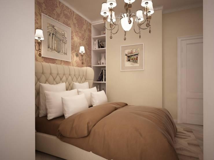 Двух комнатная квартира в ЖК «Белый парк»: Спальни в . Автор – дизайн-бюро ARTTUNDRA