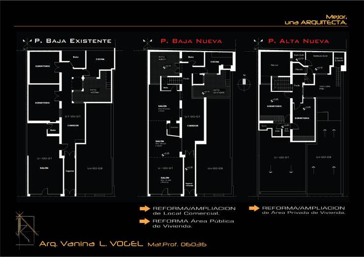 Plano original y Plano de Reforma/ampliación.:  de estilo  por ARQ. VANINA VOGEL