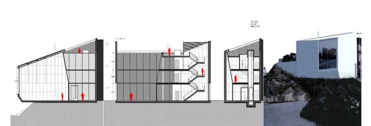 Casa Carlos Barreira –  Sustentabilidade (modelo auto-suficiente): Casas  por Teoriabstrata Arquitetura Unip, lda