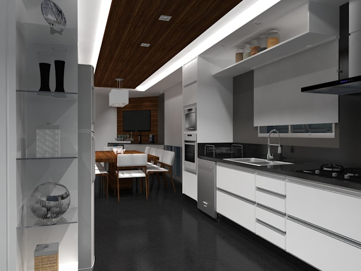 Cozinha Moderna: Cozinhas  por Daniela Hescheles Arquitetura,Moderno Madeira Efeito de madeira
