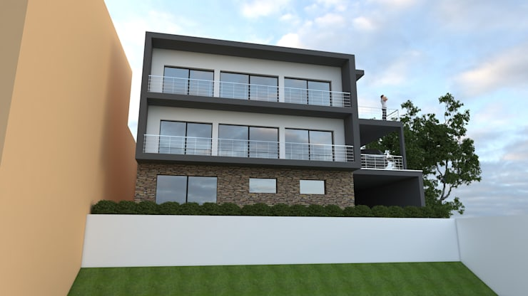 Habitação Bifamiliar: Casas  por Marilia Pinto, Arquitetura Engenharia & Construção