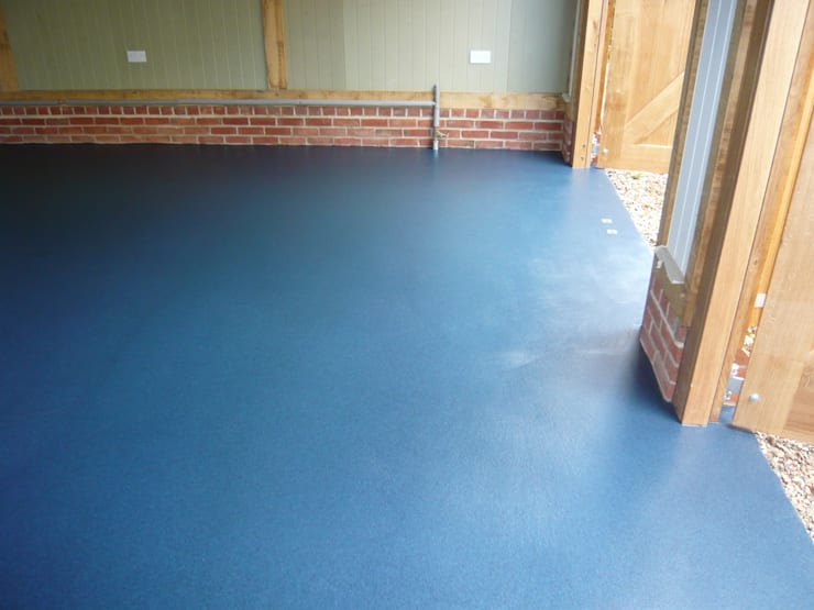 Blue Resin Floor by Garageflex:  Walls by Garageflex