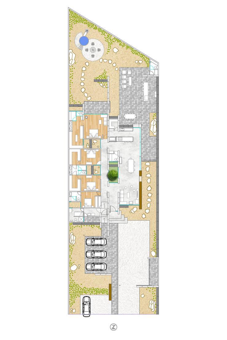 Casa 0316.: Recámaras de estilo  por Lozano Arquitectos