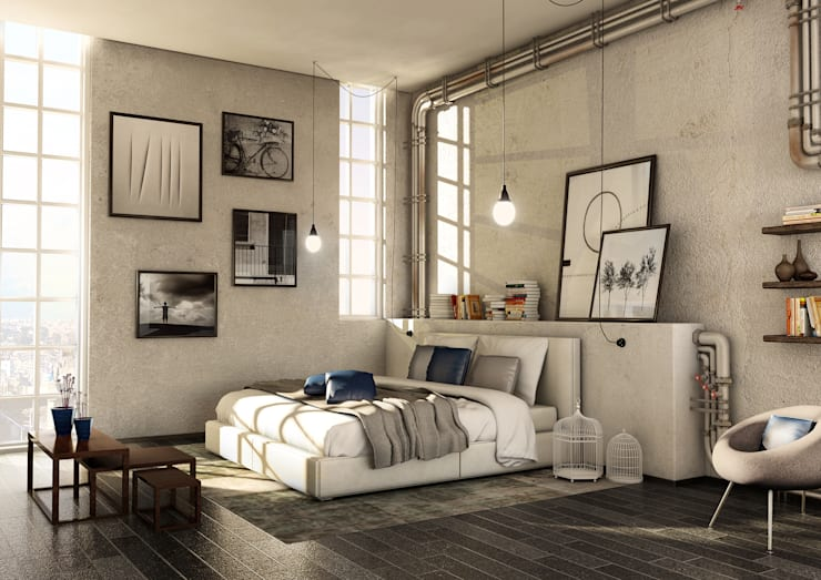 Dormitorios de estilo industrial por Giuseppe Balestri