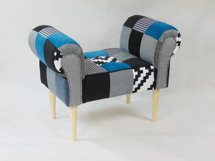Ławka patchwork L&Aproject: styl , w kategorii Salon zaprojektowany przez LandAproject