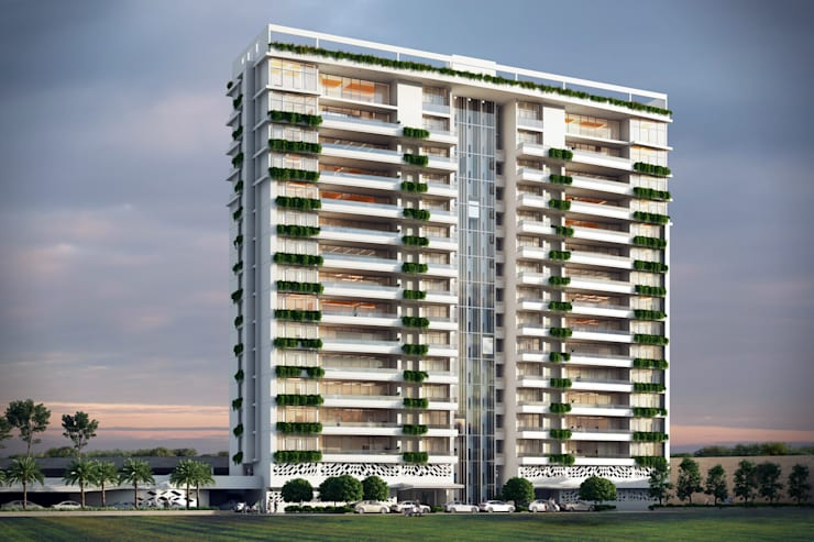 HYDE PARK TOWER,  BIBBEWADI, PUNE:  Houses by Chaney Architects
