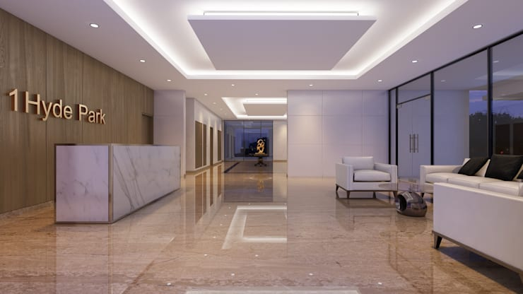 HYDE PARK TOWER,  BIBBEWADI, PUNE:  Corridor & hallway by Chaney Architects