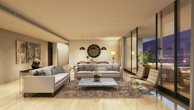 HYDE PARK TOWER,  BIBBEWADI, PUNE:  Living room by Chaney Architects