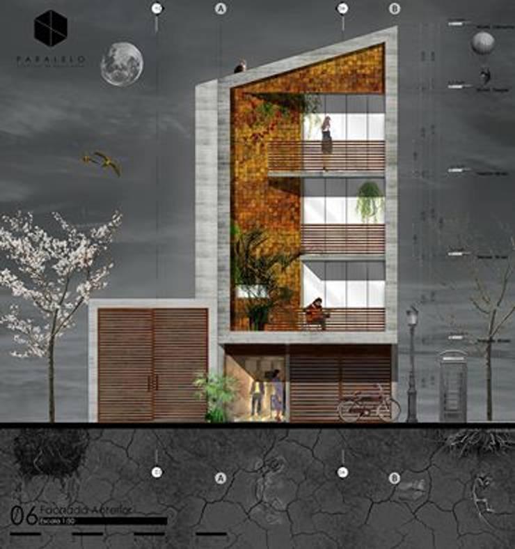 propuestra preliminar de fachada de paralelocolectivo de arquitectos Moderno