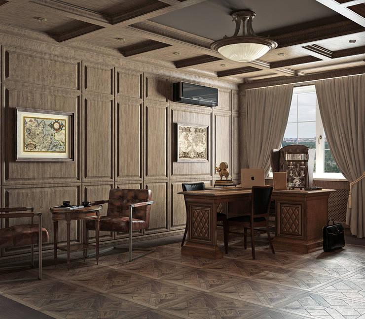Estudios y oficinas de estilo clásico por Yurov Interiors